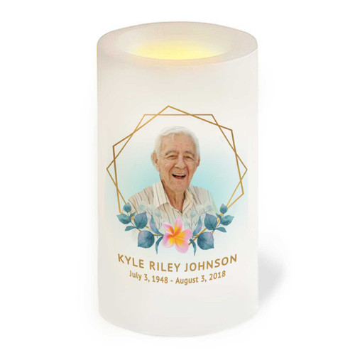 Hexagon Flameless LED Memorial Candle front view