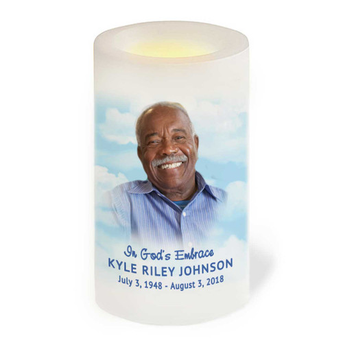 Blue Skies Flameless LED Memorial Candle front