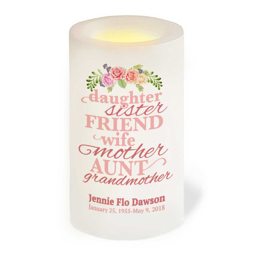 Daughter Sister Mom Wife Grandmother Flameless LED Memorial Candle