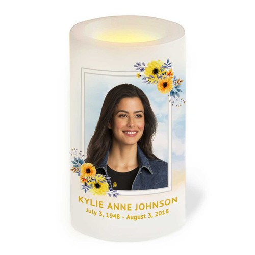 Framed Floral LED Flameless Memorial Candle front view
