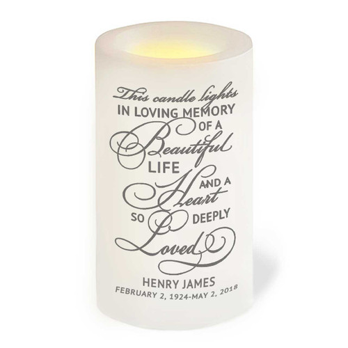 Lighted In Memory Flameless Memorial LED Candle front view