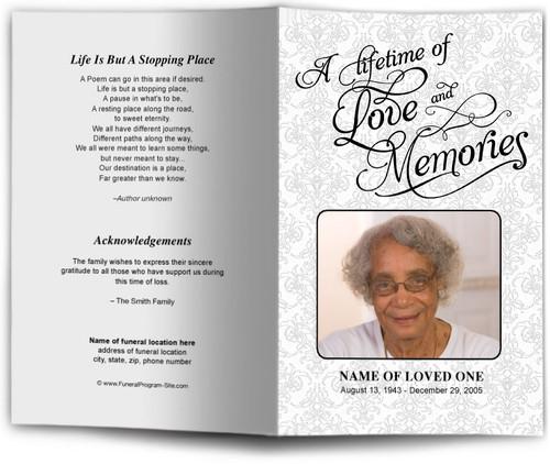 Lifetime Funeral Program Template