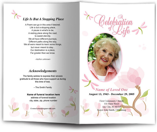 Magnolia Funeral Program Template