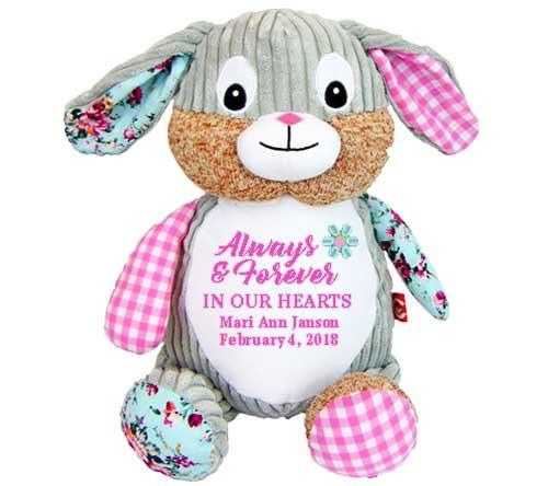 Harlequin Bunny Memorial Stuffed Animal & Urn