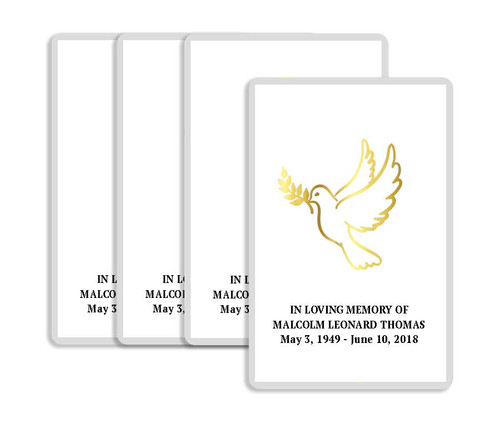 Foil Stamped Dove Funeral Prayer Card  Design & Print (Pack of 25)