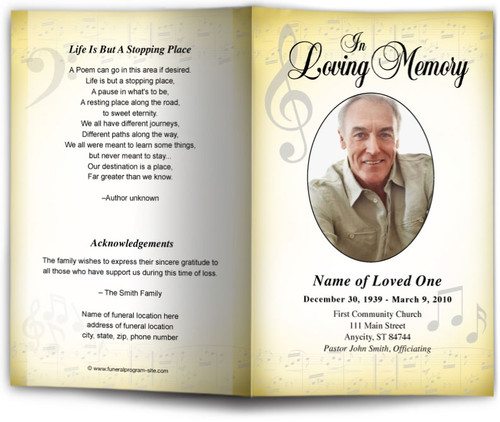 Musical Funeral Program Template