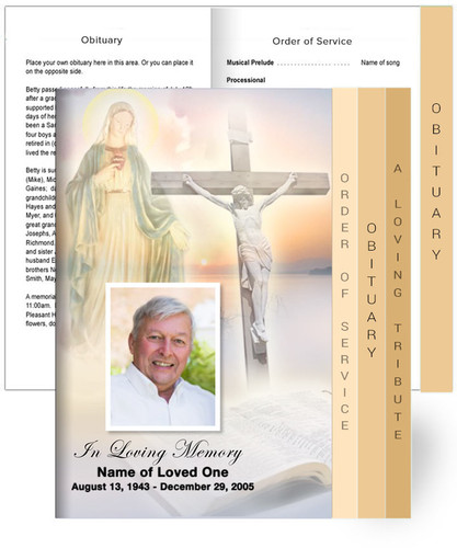 Large Tabloid 8-Sided Graduated Funeral Program Template