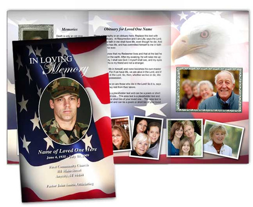 U.S. Flag Large Trifold Funeral Brochure Template
