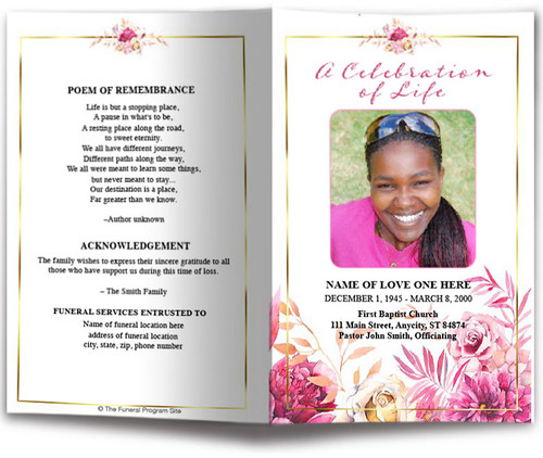 Crystal Watercolor Funeral Program Template