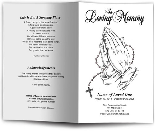 Prayer Funeral Program Template