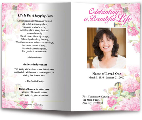 Zahara Watercolor Funeral Program Template