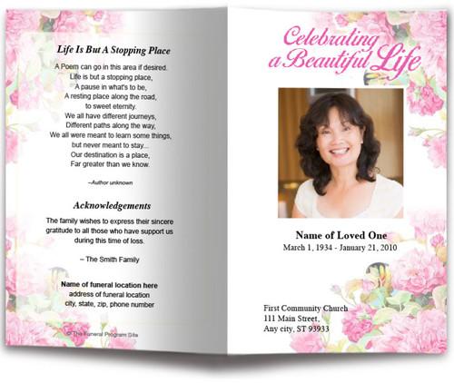 Zahara Watercolor Funeral Program Template
