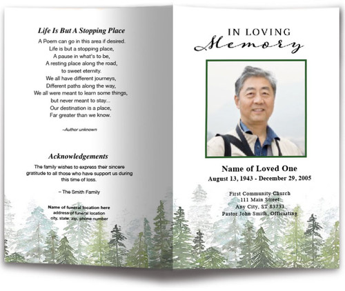Trees Watercolor Funeral Program Template