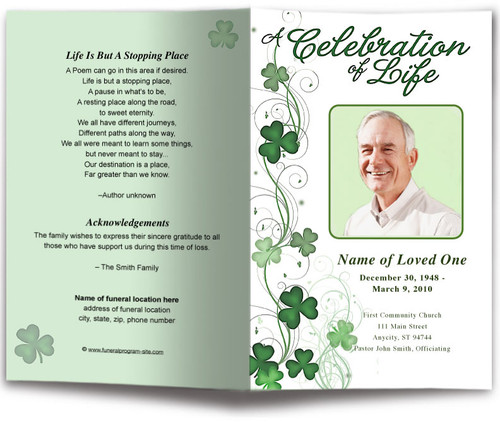 Shamrock Funeral Program Template