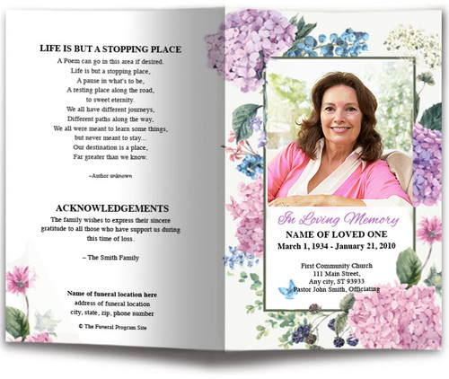 Hydrangea Watercolor Funeral Program Template