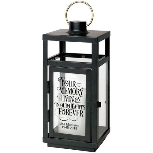 Your Memory Lives On Black Lantern With LED Candle