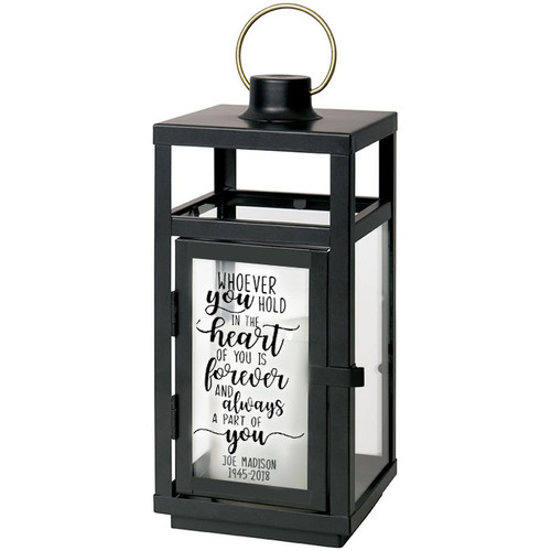 Whoever You Hold In Your Heart Black Lantern With LED Candle