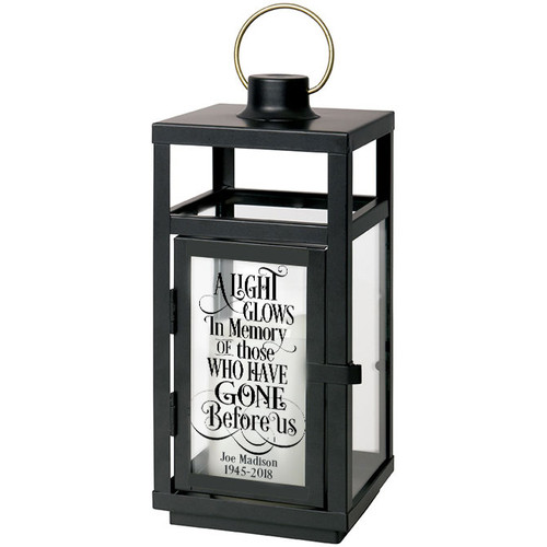 A Light Glows In Memory Black Lantern With LED Candle