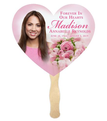 Pink Bouquet Cardstock Memorial Fan With Wooden Handle