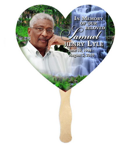 Church Fan Heart Memorial With Wooden Handle Waterfall