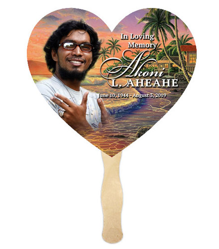 Church Fan Heart Memorial With Wooden Handle Island Dream