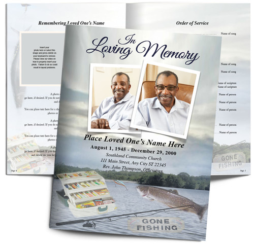 Fishing Angler Large Funeral Booklet Template