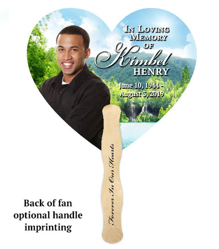 Church Fan Heart Memorial With Wooden Handle Majestic Lake back view