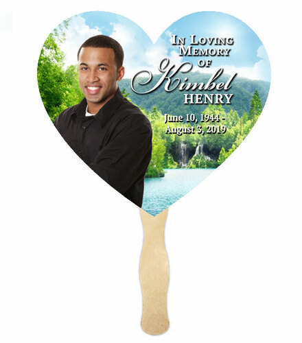 Church Fan Heart Memorial With Wooden Handle Majestic Lake