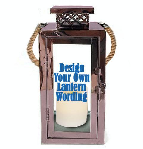 Design Your Own Rose Gold Metal Custom Memorial Lantern With Rope Handle