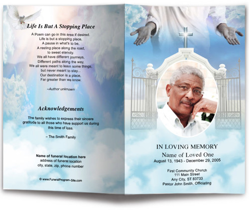 Open Arms Funeral Program Template