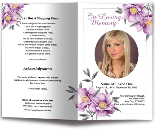 Plum Watercolor Funeral Program Template