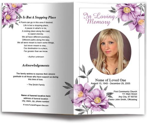 Plum Watercolor Funeral Program Template