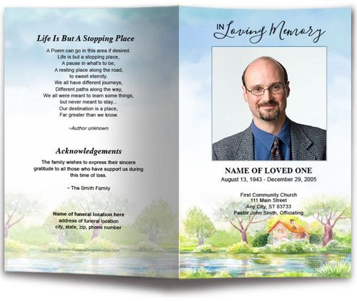 River Funeral Program Template front view