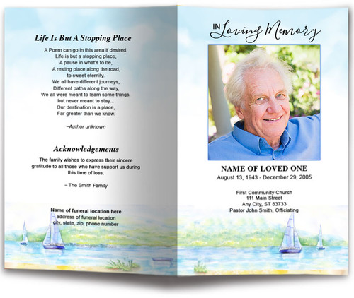 Sailing Watercolor Funeral Program Template