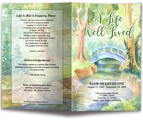 Forest Watercolor Funeral Program Template