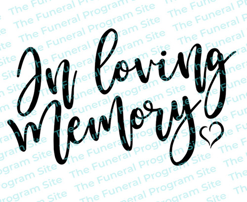 In Loving Memory Heart Funeral Program Title