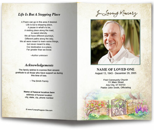 Garden Gate Watercolor Funeral Program Template front