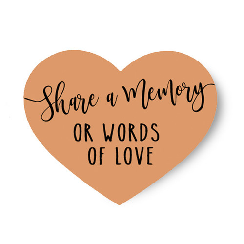 Share A Memory or Words of Love Heart Remembrance Card