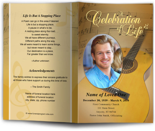 Guitar Funeral Program Template
