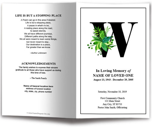 Monogram W Leaves Funeral Program Template front