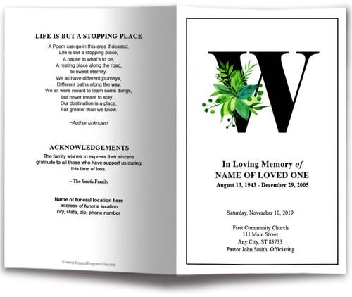 Monogram W Leaves Funeral Program Template front