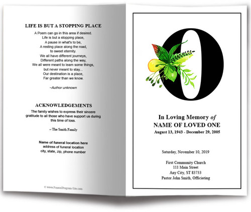 Monogram O Leaves Funeral Program Template front view