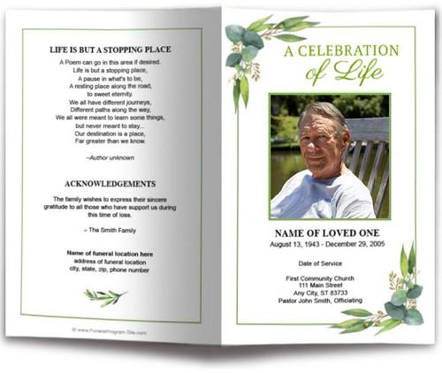 Foliage Watercolor Funeral Program Template