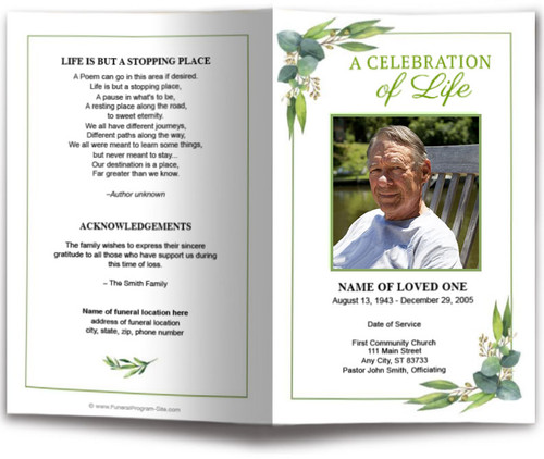 Foliage Watercolor Funeral Program Template
