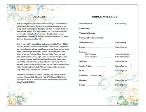 White Blossoms Watercolor Funeral Program Template inside  view