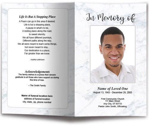 Marble Funeral Program Template