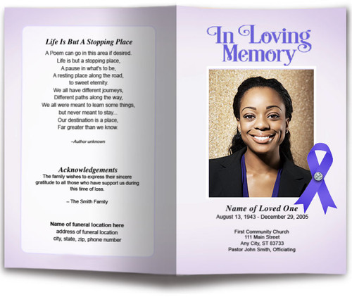 Lupus Purple Ribbon Funeral Program Template