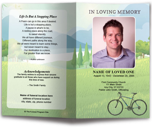 Country Bike Watercolor Funeral Program Template