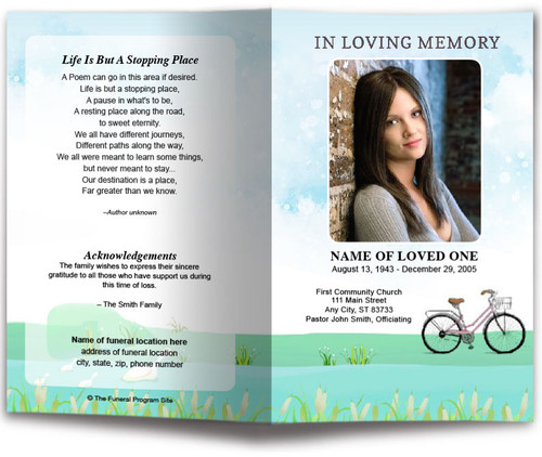 Bicycle Watercolor Funeral Program Template