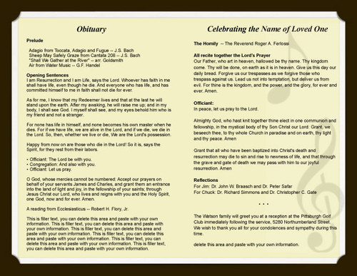 melody funeral program template inside view